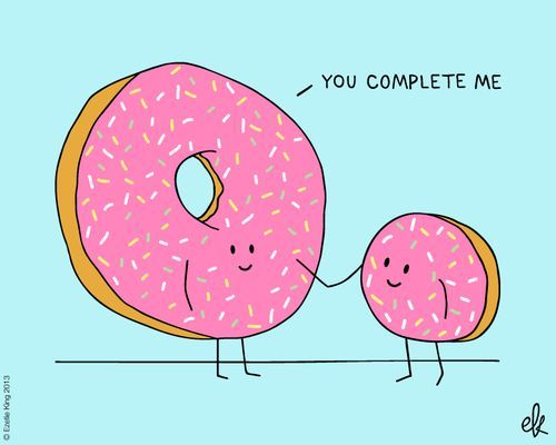 love quote cute love pun donuts with you complete me