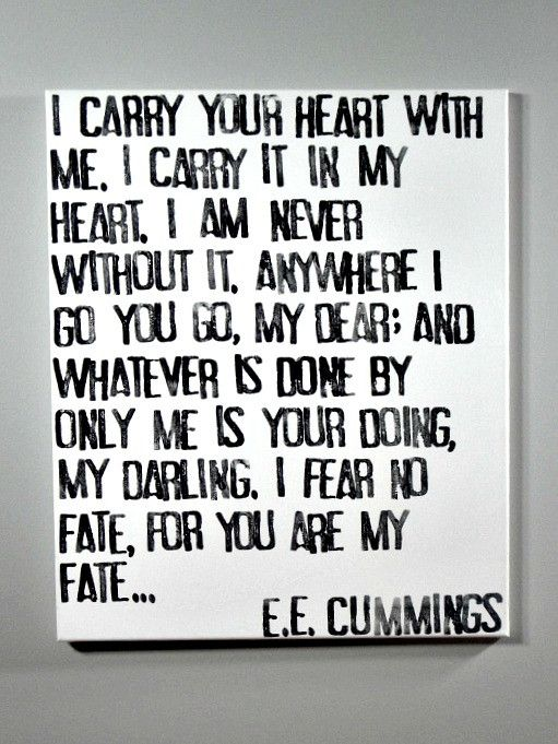 Love Quote I Carry Your Heart EE Cummings Poem On Canvas Classy Canvas Love Quotes