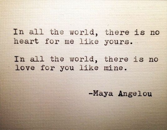 Love Quote In All The World There Is No Heart For Me Like Yours