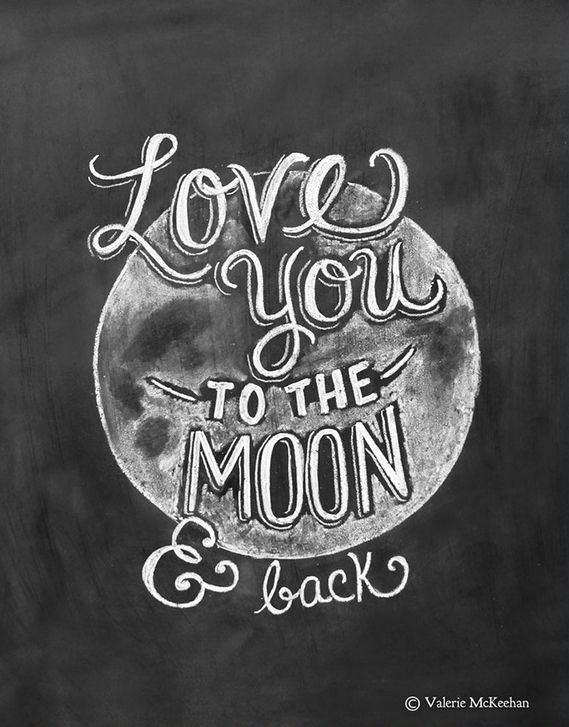 Chalkboard Quotes   Love Quote Love You To The Moon And Back Chalkboard Art Print