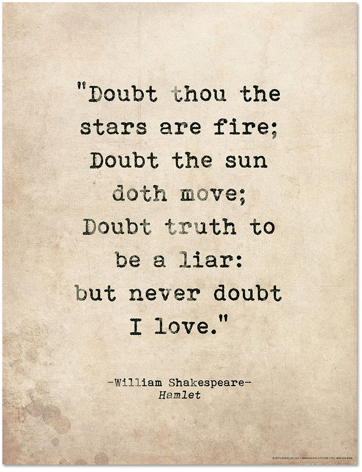 William Shakespeare quotes: Romantic Quote Poster. Doubt ...