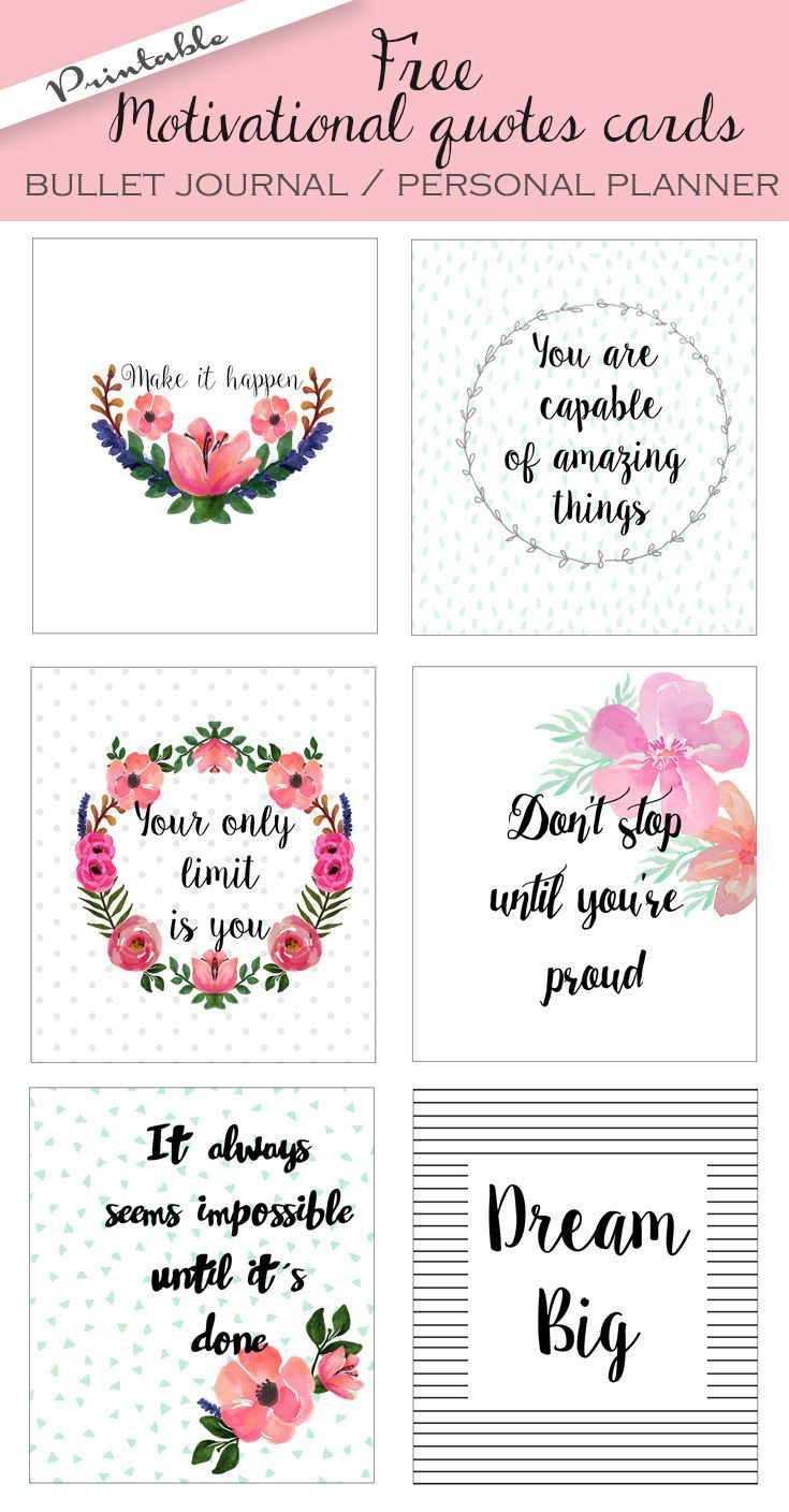 Amazing Life Quotes For Inspiration Free Printable Cards: Free Printable Bullet Journal Cards. Personal Planner