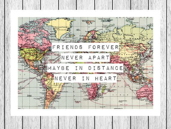 Friendship Quotes World Map Print Friendship Quote Map Art